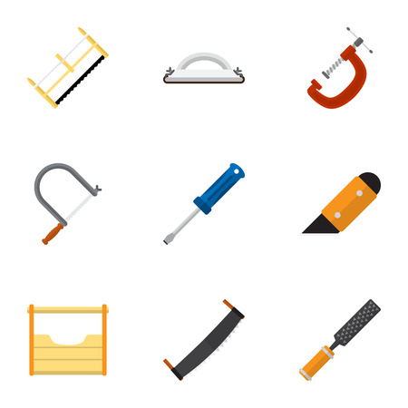 Set Of 9 Editable Equipment Icons. Includes Symbols Such As Clinch, Instruments, Turn-Screw And More. Can Be Used For Web, Mobile, UI And Infographic Design. Illustration