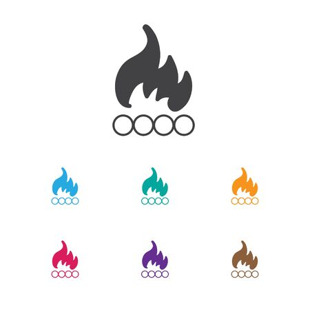 conflagration: Vector Illustration Of Travel Symbol On Bonfire Icon. Premium Quality Isolated Blaze  Element In Trendy Flat Style.