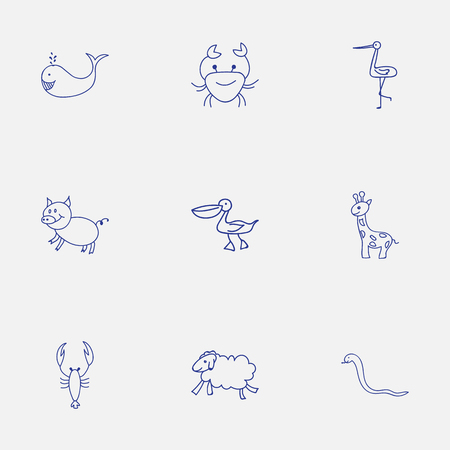 smiley: Set Of 9 Editable Animal Icons. Includes Symbols Such As Shadoof, Pelican, Tall Animal And More. Can Be Used For Web, Mobile, UI And Infographic Design. Illustration