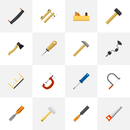 exchanger: Set Of 16 Editable Tools Icons. Includes Symbols Such As Hacksaw, Axe, Clinch And More. Can Be Used For Web, Mobile, UI And Infographic Design.