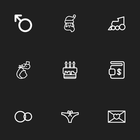 Set Of 9 Editable Folks Icons. Includes Symbols Such As Man Symbol, Rings, Brings And More. Can Be Used For Web, Mobile, UI And Infographic Design. Imagens - 81716581