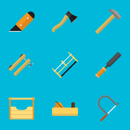Set Of 9 Editable Tools Icons. Includes Symbols Such As Instruments , Rasp , Handsaw. Can Be Used For Web, Mobile, UI And Infographic Design. Illustration