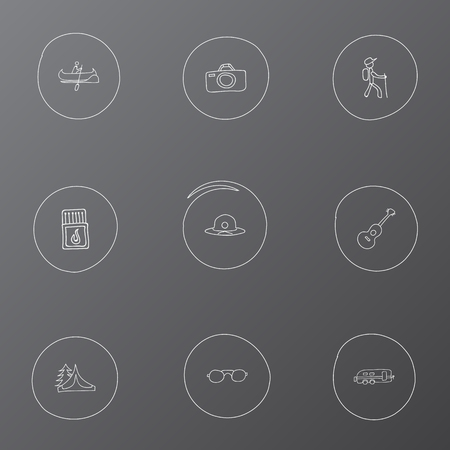 capturing: Set Of 9 Editable Trip Icons. Includes Symbols Such As Camp House, Camper, Photographing And More. Can Be Used For Web, Mobile, UI And Infographic Design.