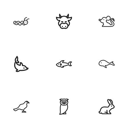 Set van 9 bewerkbare dierentuin iconen. Bevat Symbolen zoals Konijn, Predator, Rat en meer. Kan gebruikt worden voor web-, mobiel-, gebruikers- en infografisch ontwerp.
