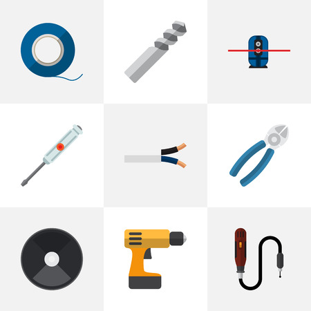 geodesist: Set Of 9 Editable Instruments Icons. Includes Symbols Such As Auger, Geodesist, Cable And More. Can Be Used For Web, Mobile, UI And Infographic Design.