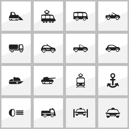 plow: Set Of 16 Editable Transport Icons. Includes Symbols Such As Taxi, Luminary, Car Vehicle And More. Can Be Used For Web, Mobile, UI And Infographic Design.
