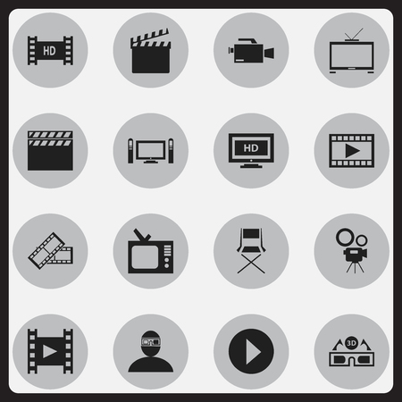 comedy: Set Of 16 Editable Cinema Icons. Includes Symbols Such As Retro Tv, Movie Camera, Chair And More. Can Be Used For Web, Mobile, UI And Infographic Design.