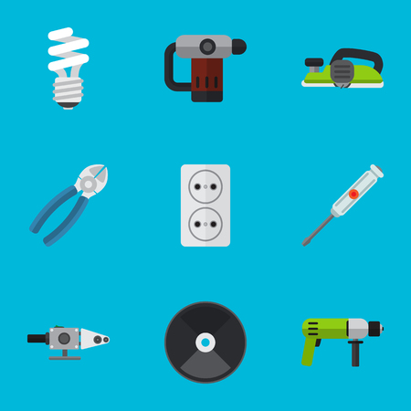 Set Of 9 Editable Electric Icons. Includes Symbols Such As Inserting Nails, Jointer, Nipper And More. Can Be Used For Web, Mobile, UI And Infographic Design. Illustration