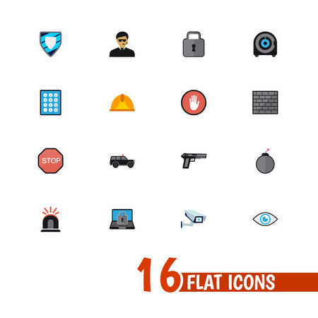strongbox: Set Of 16 Editable Security Icons. Includes Symbols Such As Safe, Hatchback, Security Camera And More. Can Be Used For Web, Mobile, UI And Infographic Design.