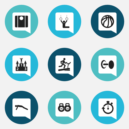 Set Of 9 Editable Active Icons. Includes Symbols Such As Physical Education, Balance, Weightlifting And More. Can Be Used For Web, Mobile, UI And Infographic Design.
