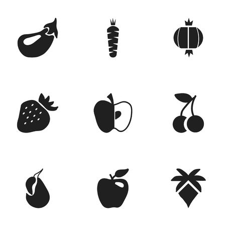 petiole: Set Of 9 Editable Berry Icons. Includes Symbols Such As Aubergine, Palm, Bulb And More. Can Be Used For Web, Mobile, UI And Infographic Design. Illustration