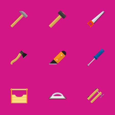 Set Of 9 Editable Tools Icons. Includes Symbols Such As Turn-Screw, Malleus, Axe And More. Can Be Used For Web, Mobile, UI And Infographic Design. Illustration