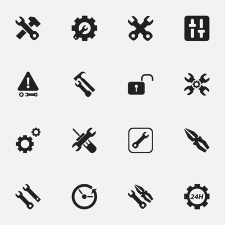 bolt: Set Of 16 Editable Toolkit Icons. Includes Symbols Such As Spanner, Equalizer, Reconstruction And More. Can Be Used For Web, Mobile, UI And Infographic Design. Illustration