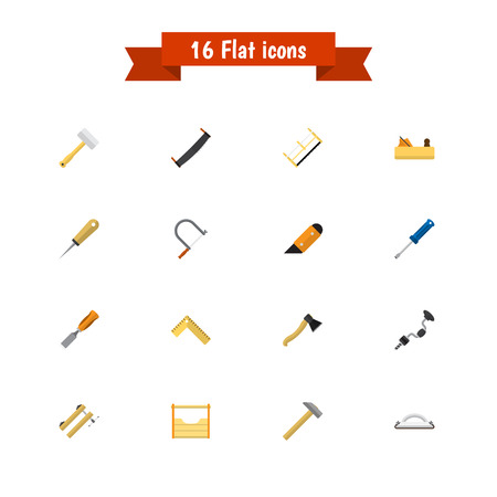 awl: Set Of 16 Editable Tools Icons. Includes Symbols Such As Bit, Hammer, Saw And More. Can Be Used For Web, Mobile, UI And Infographic Design.