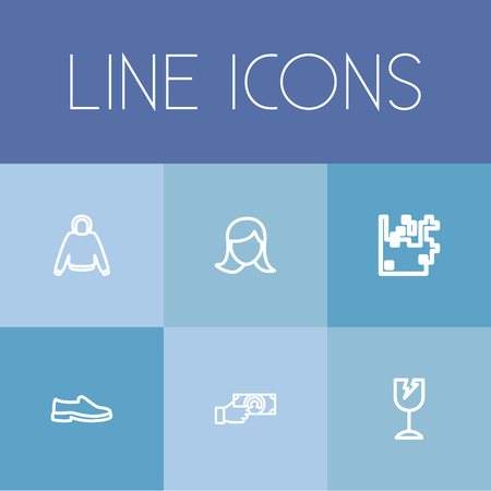 dealing: Set Of 6 Editable Shopping Icons. Includes Symbols Such As Arrow Up, Shoes, Hoodie And More. Can Be Used For Web, Mobile, UI And Infographic Design.