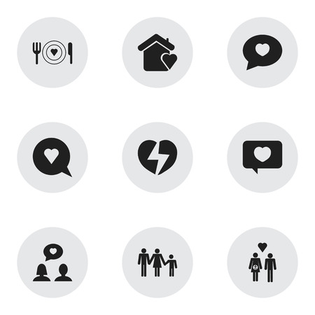 Set Of 9 Editable Love Icons. Includes Symbols Such As Family, Plate, House And More. Can Be Used For Web, Mobile, UI And Infographic Design.