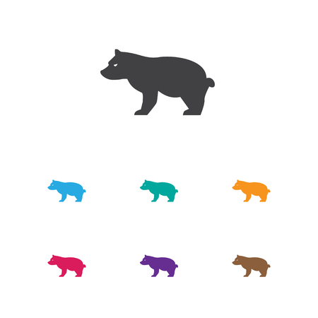 Vector Illustration Of Zoology Symbol On Grizzly Icon. Premium Quality Isolated Polar Animal Element In Trendy Flat Style.