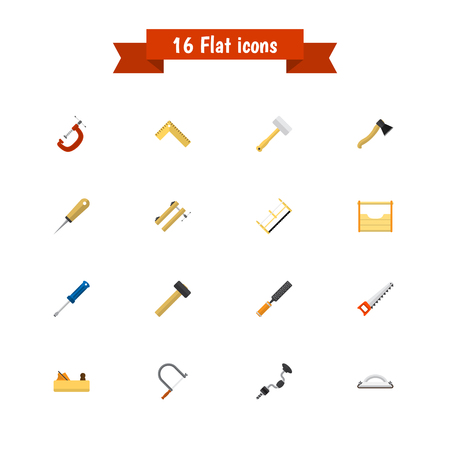 Set Of 16 Editable Apparatus Icons. Includes Symbols Such As Rasp, Jointer, Bodkin And More. Can Be Used For Web, Mobile, UI And Infographic Design.