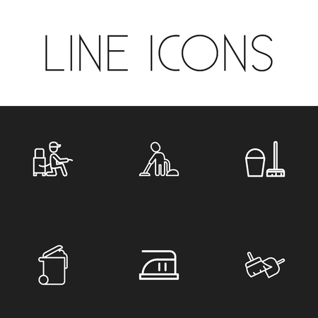 refuse: Set Of 6 Editable Cleanup Icons. Includes Symbols Such As Medium Heat, Vacuuming Man, Bucket With Besom And More. Can Be Used For Web, Mobile, UI And Infographic Design. Illustration