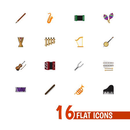 Set Of 16 Editable Media Icons. Includes Symbols Such As Zither, Oboe, Fiddle And More. Can Be Used For Web, Mobile, UI And Infographic Design.