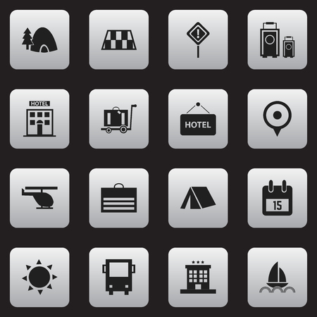 Set Of 16 Editable Travel Icons. Includes Symbols Such As Welcome Board, Caution, Tent And More. Can Be Used For Web, Mobile, UI And Infographic Design.