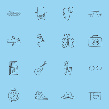 Set Of 16 Editable Travel Icons. Includes Symbols Such As Flammable Stick, Camper, Picnic And More. Can Be Used For Web, Mobile, UI And Infographic Design.