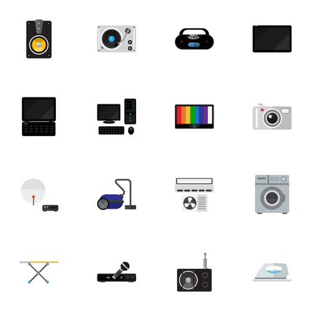 palmtop: Set Of 16 Editable Tech Icons. Includes Symbols Such As Palmtop, Appliance, Turntable And More. Can Be Used For Web, Mobile, UI And Infographic Design.