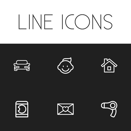 Set Of 6 Editable Folks Icons. Includes Symbols Such As Baby, Laundress, Home And More. Can Be Used For Web, Mobile, UI And Infographic Design.