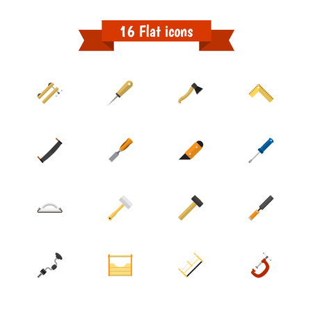 awl: Set Of 16 Editable Instrument Icons. Includes Symbols Such As Rasp, Saw, Turn-Screw And More. Can Be Used For Web, Mobile, UI And Infographic Design.