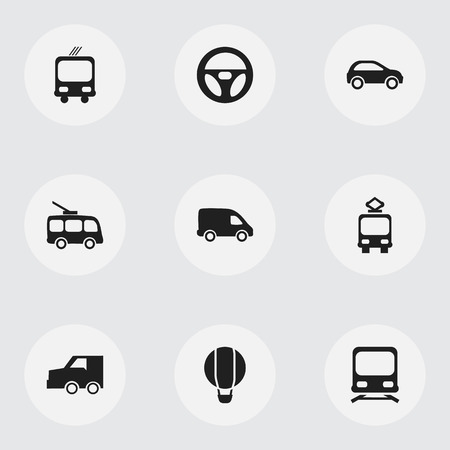 conveyor rail: Set Of 9 Editable Shipment Icons. Includes Symbols Such As Delivery, Omnibus, Drive Control And More. Can Be Used For Web, Mobile, UI And Infographic Design. Illustration