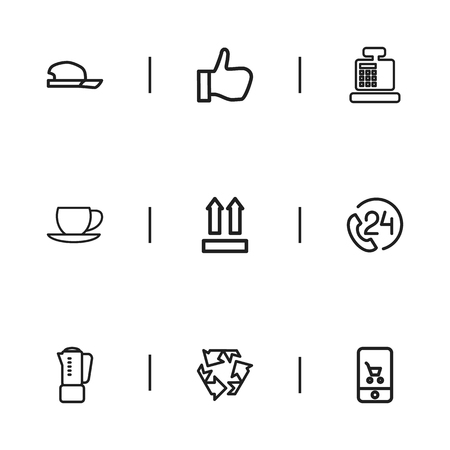dealing: Set Of 9 Editable Shopping Icons. Includes Symbols Such As Mixing, 24 Hour Support, Thumb Up And More. Can Be Used For Web, Mobile, UI And Infographic Design.
