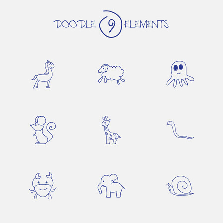 Set Of 9 Editable Zoo Icons. Includes Symbols Such As Tall Animal, Elephant, Ewe And More. Can Be Used For Web, Mobile, UI And Infographic Design. Illustration