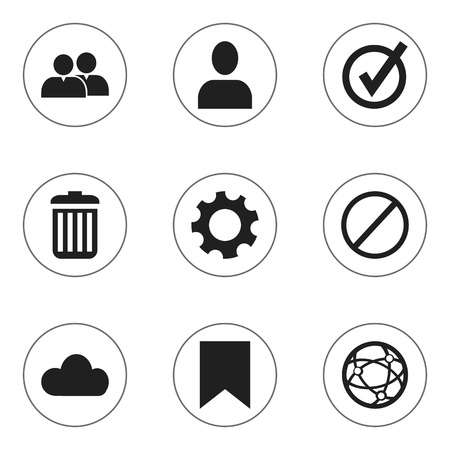 alright: Set Of 9 Editable Internet Icons. Includes Symbols Such As Network, Recycle Bin, Tag And More. Can Be Used For Web, Mobile, UI And Infographic Design. Illustration