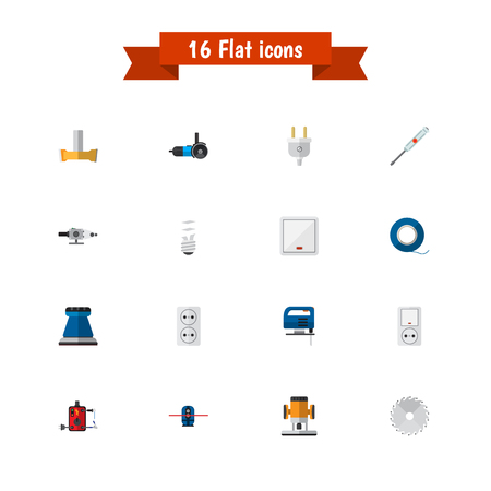 Set Of 16 Editable Electrical Icons. Includes Symbols Such As Jack, Orifice, Cutting And More. Can Be Used For Web, Mobile, UI And Infographic Design. Illustration