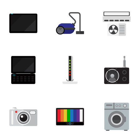 palmtop: Set Of 9 Editable Home Icons. Includes Symbols Such As Sweeper, Modem, Palmtop And More. Can Be Used For Web, Mobile, UI And Infographic Design.
