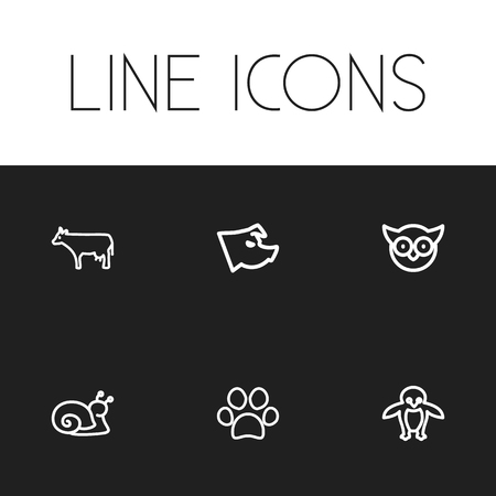 kine: Set Of 6 Editable Zoo Icons. Includes Symbols Such As Escargot, Predator Bird, Piglet And More. Can Be Used For Web, Mobile, UI And Infographic Design.