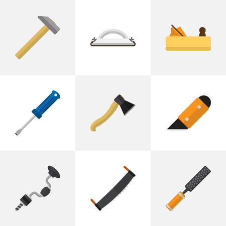 Set Of 9 Editable Instrument Icons. Includes Symbols Such As Jointer, Boer, Emery Paper And More. Can Be Used For Web, Mobile, UI And Infographic Design.