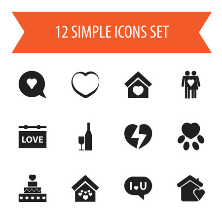Set Of 12 Editable Passion Icons. Includes Symbols Such As Fizz, Divorce, Banner And More. Can Be Used For Web, Mobile, UI And Infographic Design.