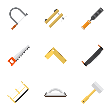 Set Of 9 Editable Equipment Icons. Includes Symbols Such As Nag, Rasp, Tool And More. Can Be Used For Web, Mobile, UI And Infographic Design. Illustration