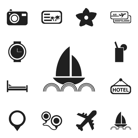 guests: Set Of 12 Editable Travel Icons. Includes Symbols Such As Wristwatch, Lemonade, Photography And More. Can Be Used For Web, Mobile, UI And Infographic Design.