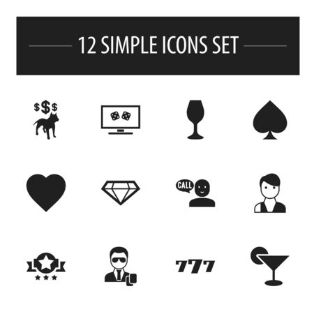 Set Of 12 Editable Business Icons. Includes Symbols Such As Backgammon, Love, Game Card And More. Can Be Used For Web, Mobile, UI And Infographic Design.
