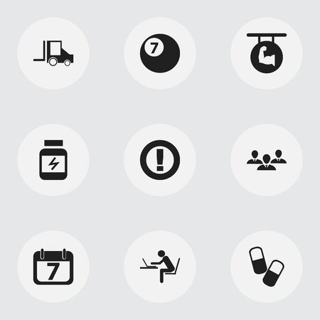 camion: Set Of 9 Editable Mixed Icons. Includes Symbols Such As Protein, Biceps, Date Block And More. Can Be Used For Web, Mobile, UI And Infographic Design.
