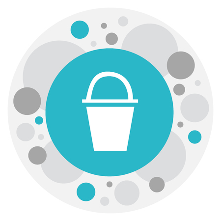 Vector Illustration Of Camping Symbol On Bucket Icon. Premium Quality Isolated Pail Element In Trendy Flat Style.