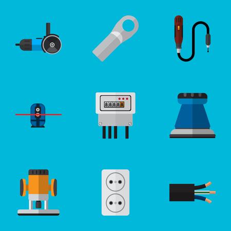 Conjunto de 9 iconos eléctricos editables. Incluye símbolos como corte, mini taladro, conexión y más. Se puede usar para diseño web, móvil, de interfaz de usuario y de infografía.