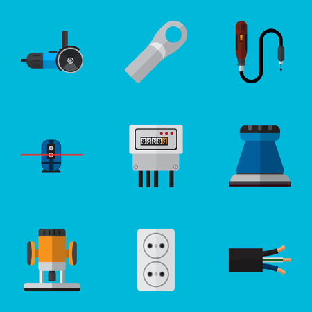 Set Of 9 Editable Electric Icons. Includes Symbols Such As Cutting, Mini Drill, Connection And More. Can Be Used For Web, Mobile, UI And Infographic Design. Illustration