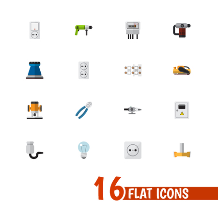 Set Of 16 Editable Instruments Icons. Includes Symbols Such As Isolator, Orifice, Emery Paper And More. Can Be Used For Web, Mobile, UI And Infographic Design. Illustration