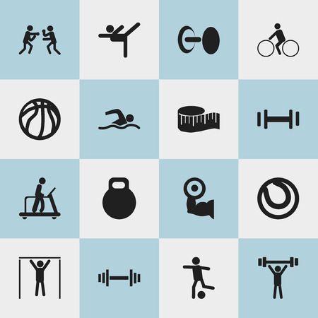 crossbar: Set Of 16 Editable Active Icons. Includes Symbols Such As Strength, Street Workout, Crossbar And More. Can Be Used For Web, Mobile, UI And Infographic Design.