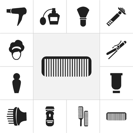 hairdo: Set Of 12 Editable Coiffeur Icons. Includes Symbols Such As Hairdo, Foam, Blow Dryer And More. Can Be Used For Web, Mobile, UI And Infographic Design. Illustration