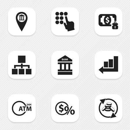 Set Of 9 Editable Finance Icons. Includes Symbols Such As Pinpoint, Greenback, Architecture And More. Can Be Used For Web, Mobile, UI And Infographic Design.