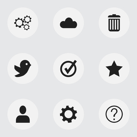wap: Set Of 9 Editable Network Icons. Includes Symbols Such As Gear, Quiz, Settings And More. Can Be Used For Web, Mobile, UI And Infographic Design. Illustration